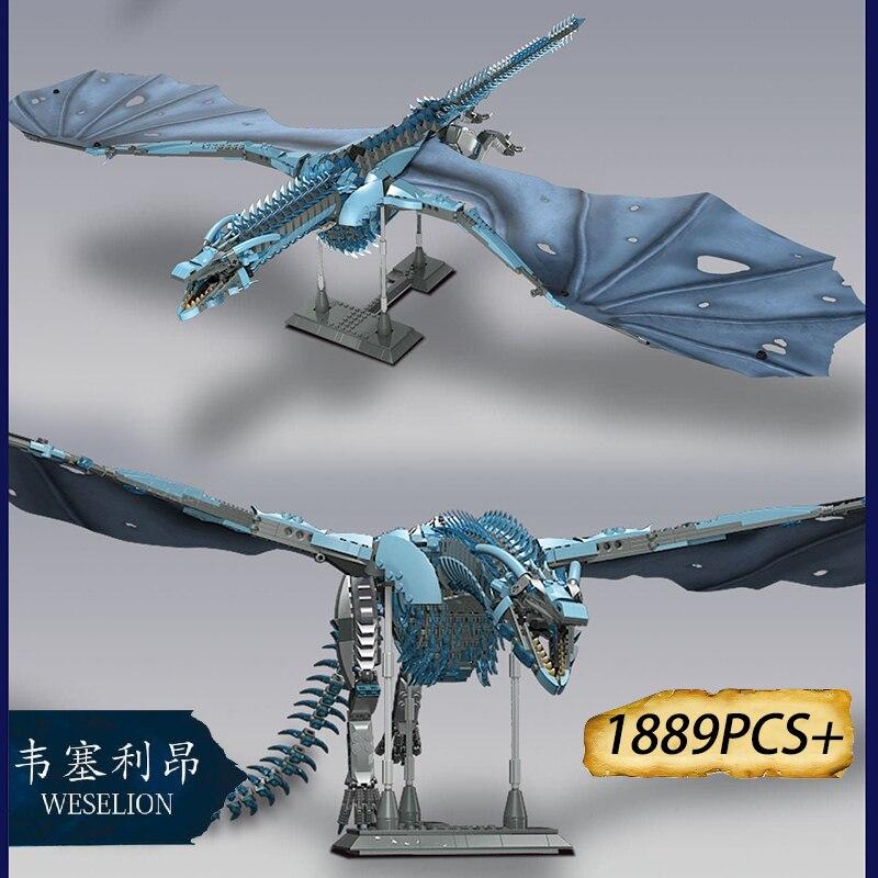 1889PCS+ Thrones Dragon Viserion Mother Black Death Balerion Anime Action Figures Building Blocks Toys For kids Gifts